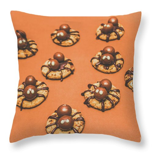 Halloween Throw Pillow featuring the photograph Trick Or Treat Halloween Spider Biscuits by Jorgo Photography - Wall Art Gallery