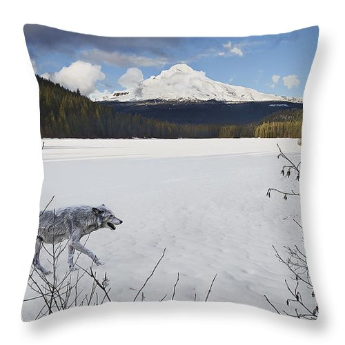Snow Throw Pillow featuring the digital art Lone Wolf by John Christopher