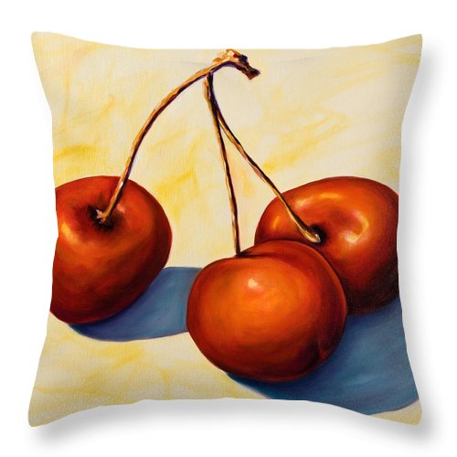 Cherries Throw Pillow featuring the painting Trilogy by Shannon Grissom