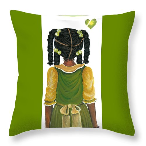 Throw Pillow featuring the painting Nia by Sonja Griffin Evans