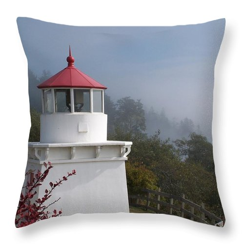 Lighthouse Throw Pillow featuring the photograph Trinidad Head Lighthouse by Gale Cochran-Smith