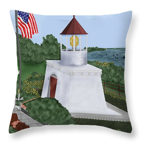 Trinidad Memorial Throw Pillow featuring the painting Trinidad Memorial Lighthouse by Anne Norskog