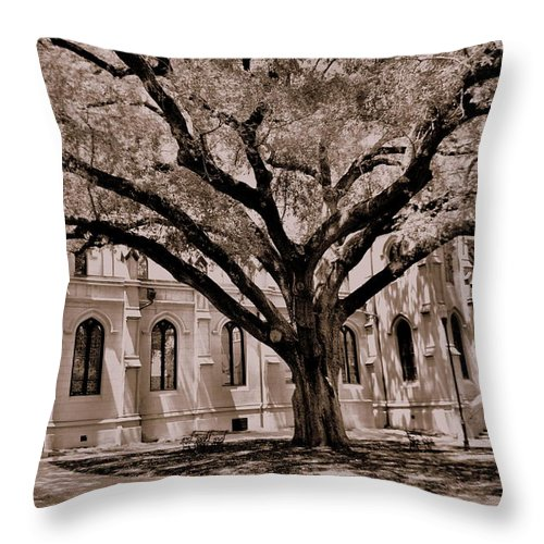 Trinity Episcopal Cathedral Columbia Sc Throw Pillow featuring the photograph Trinity Episcopal Cathedral Court Yard by Lisa Wooten
