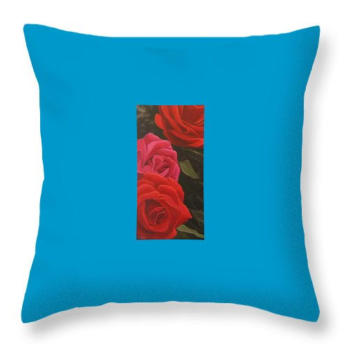 Roses In Italy Throw Pillow featuring the painting Trio by Hunter Jay