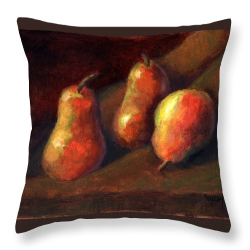 Fruit Throw Pillow featuring the painting Trio by Linda Hiller