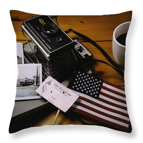 Still Life Throw Pillow featuring the photograph Trip To The Trolley Museum by Johannes Nacpil