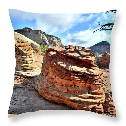 Zion National Park Throw Pillow featuring the photograph Triple Beehives by Ray Mathis