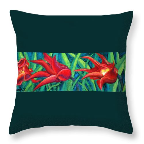 Tulips Throw Pillow featuring the painting Triple Tease Tulips by Minaz Jantz