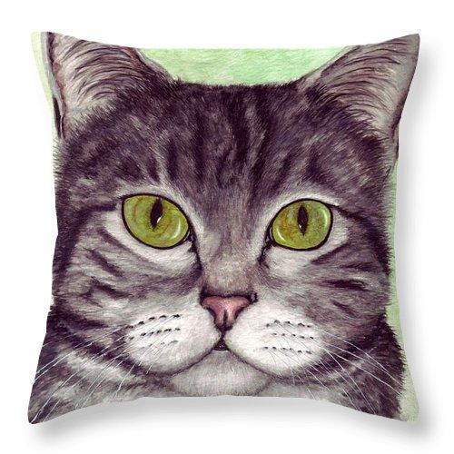 Cat Throw Pillow featuring the painting Tripper by Kristen Wesch