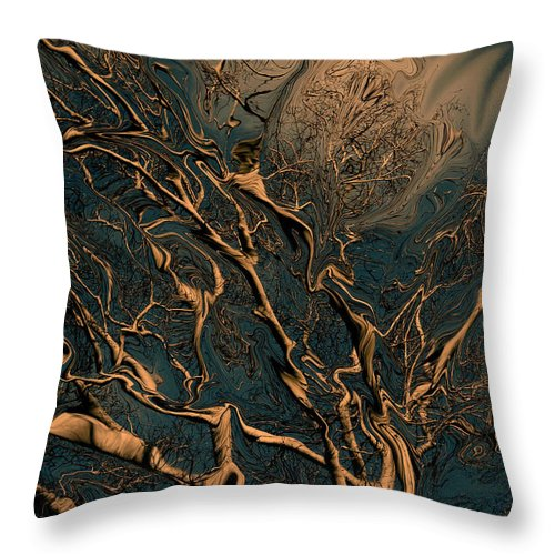 Trees Nature Abstract Digital Painting Throw Pillow featuring the photograph Trippy Tree by Linda Sannuti
