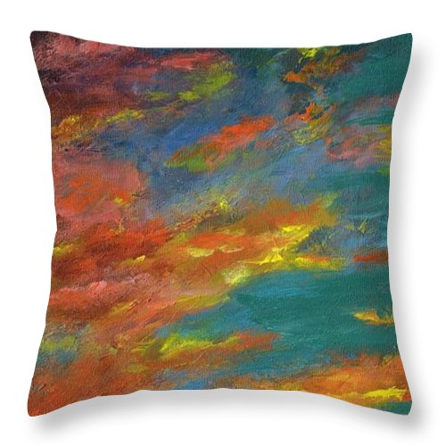 Desert Throw Pillow featuring the painting Triptych 1 Desert Sunset by Frances Marino