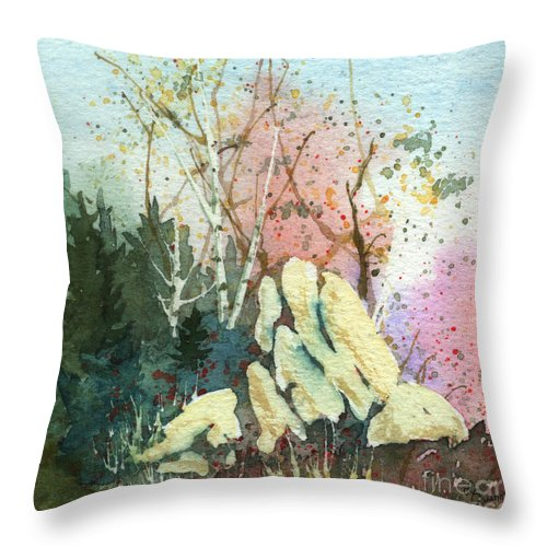 Landscape Throw Pillow featuring the painting Triptych Panel 1 by Lynn Quinn