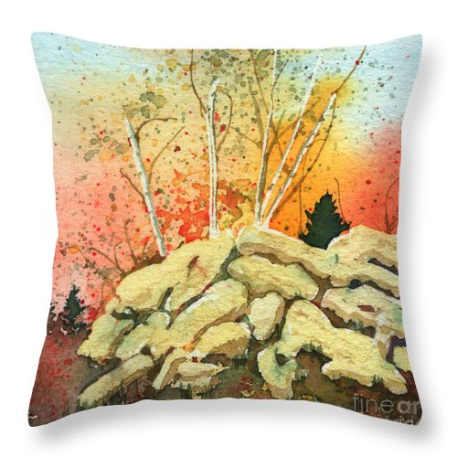 Landscape Throw Pillow featuring the painting Triptych Panel 2 by Lynn Quinn