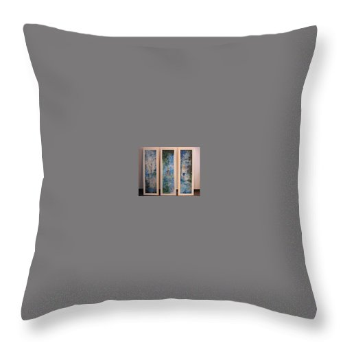 Meditation Throw Pillow featuring the painting Triptych Spiritual Meditation by Lizzy Forrester