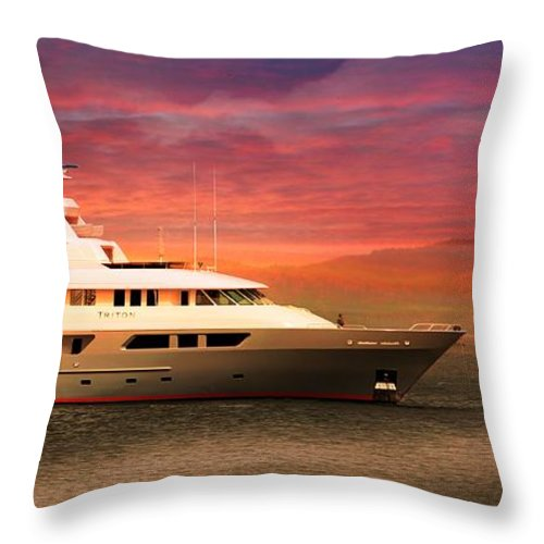 Triton Yachts Throw Pillow featuring the photograph Triton Yacht by Aaron Berg