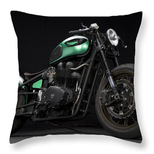 Triumph Throw Pillow featuring the photograph Triumph Green Bobber by Keith May