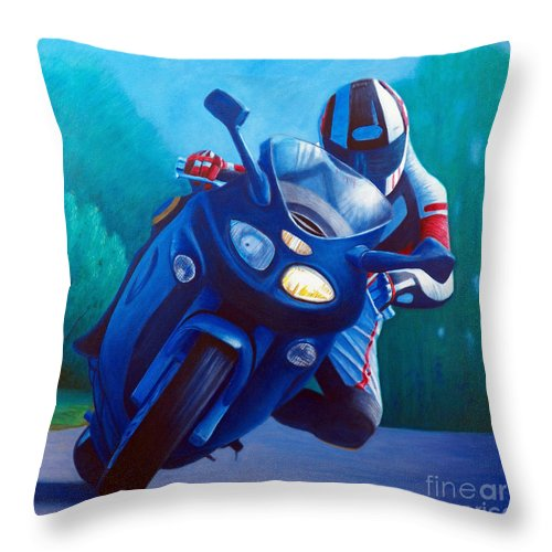 Motorcycle Throw Pillow featuring the painting Triumph Sprint - Franklin Canyon by Brian Commerford