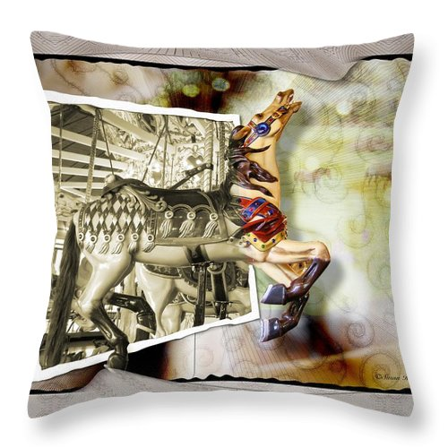 Carousel Horses Throw Pillow featuring the photograph Triumph by Susan Kinney