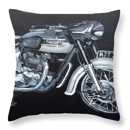 Triumph Thunderbird Throw Pillow featuring the painting Triumph Thunderbird by Richard Le Page