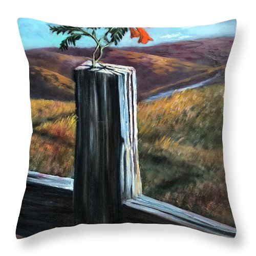 Cross Throw Pillow featuring the painting Triumphant by Randy Burns