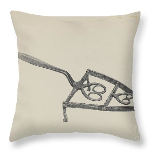 Throw Pillow featuring the drawing Trivet by American 20th Century