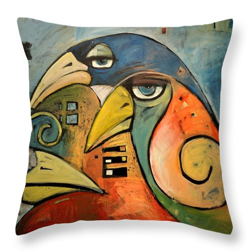 Birds Throw Pillow featuring the painting Trois Oiseaux by Tim Nyberg