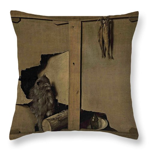 Louis Leopold Boilly Throw Pillow featuring the painting Trompe-l'oeil by Louis Leopold Boilly