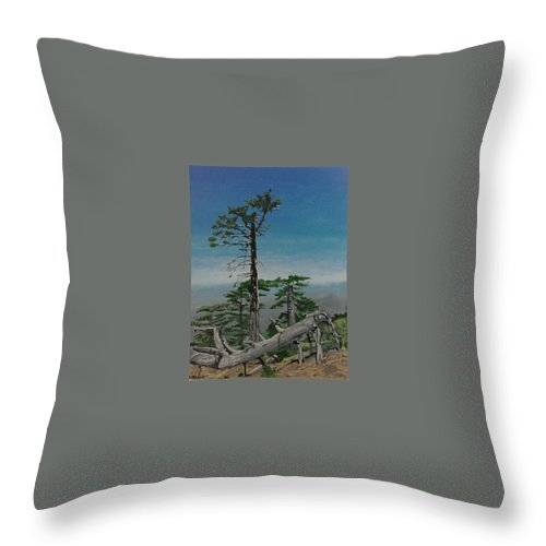 Troodos Mountains Throw Pillow featuring the painting Troodos Mountain by Paul Gibbins