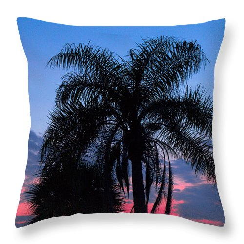 Florida; Sunset; Sun; Sunrise; Set; Setting; Rise; Rising; Summer; Melbourne; Beach; Atlantic; Coast Throw Pillow featuring the photograph Tropic Sunset In Floirida by Allan Hughes