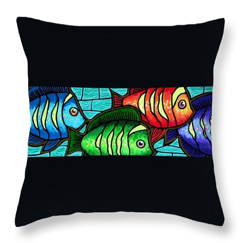 Tropics Throw Pillow featuring the painting Tropic Swim by Jim Harris