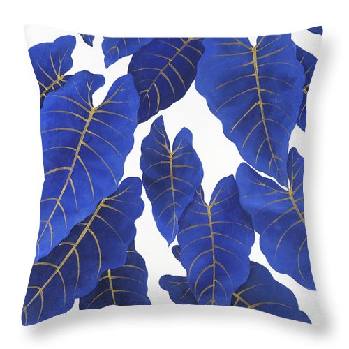 Tropical Abstract Blue Leaves Throw Pillow