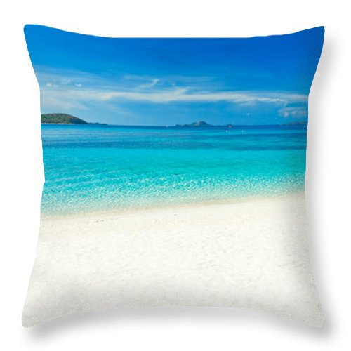 Sand Throw Pillow featuring the photograph Tropical Beach Panorama by MotHaiBaPhoto Prints