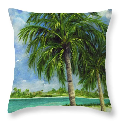 Palm Throw Pillow featuring the painting Tropical Beach Two by Carolyn Shireman