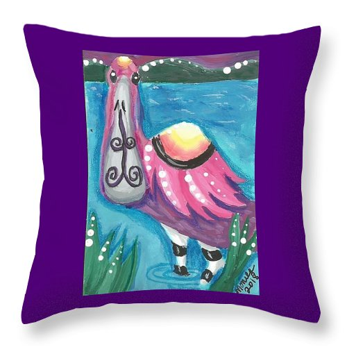 Roseate Spoonbill Throw Pillow featuring the painting Tropical Bird by Monica Resinger