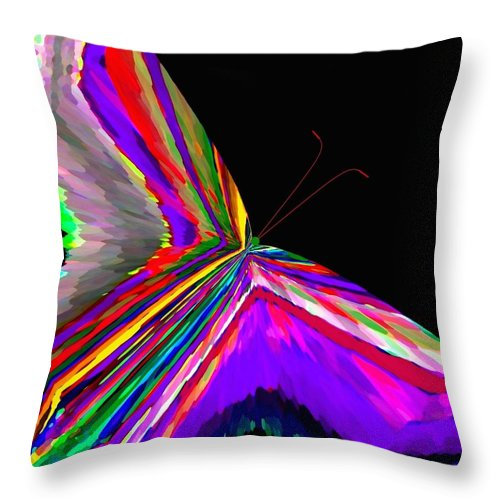 Abstract Throw Pillow featuring the digital art Tropical Butterfly by Will Borden