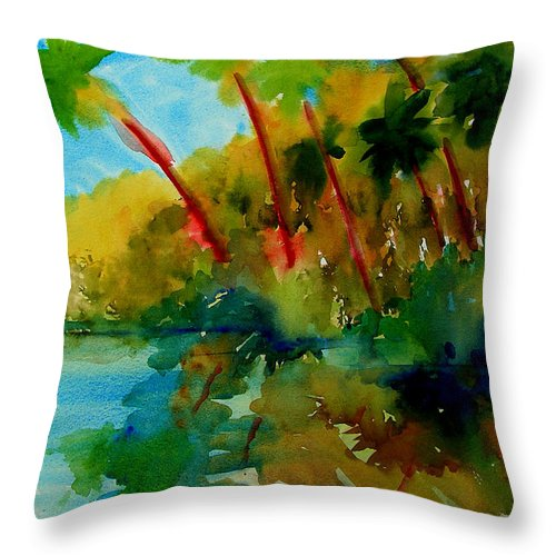 Art Throw Pillow featuring the painting Tropical Canal by Julianne Felton