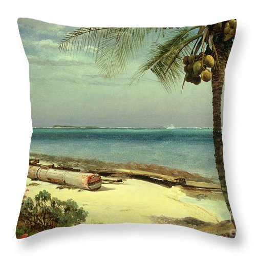 Shore; Exotic; Palm Tree; Coconut; Sand; Beach; Sailing Throw Pillow featuring the painting Tropical Coast by Albert Bierstadt