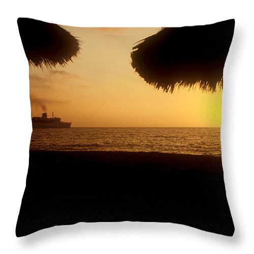 Ship Throw Pillow featuring the photograph Tropical Cruise by Jerry McElroy
