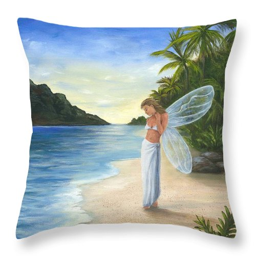 Fairy Throw Pillow featuring the painting Tropical Fairy by Anne Kushnick
