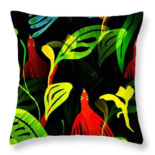 Tropical Throw Pillow featuring the mixed media Tropical Flock by Sarah Loft