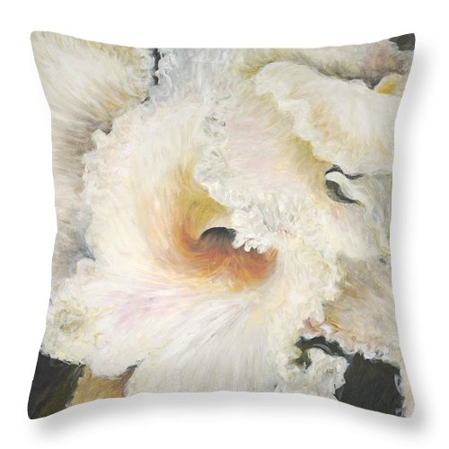 Flower Throw Pillow featuring the painting Tropical Flowers by Nadine Rippelmeyer