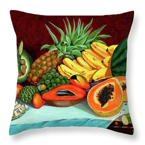 Coconut Throw Pillow featuring the painting Tropical Fruits by Jose Manuel Abraham