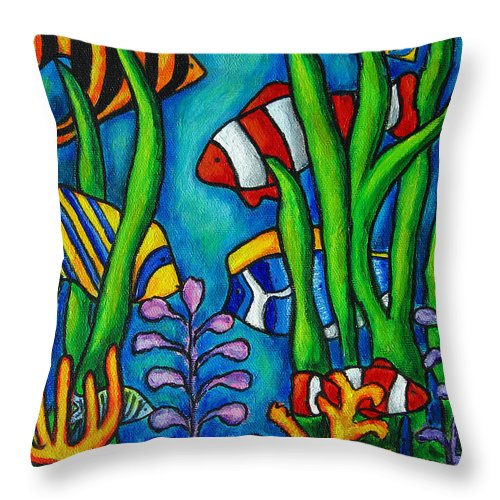 Tropical Throw Pillow featuring the painting Tropical Gems by Lisa Lorenz
