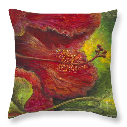 Flowers Throw Pillow featuring the painting Tropical Hibiscus by Nadine Rippelmeyer
