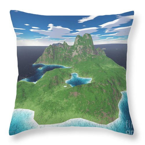 Aerial Throw Pillow featuring the digital art Tropical Island by Gaspar Avila