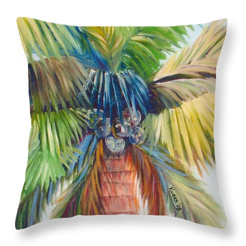 Palm Throw Pillow featuring the painting Tropical Palm Inn by Susan Kubes