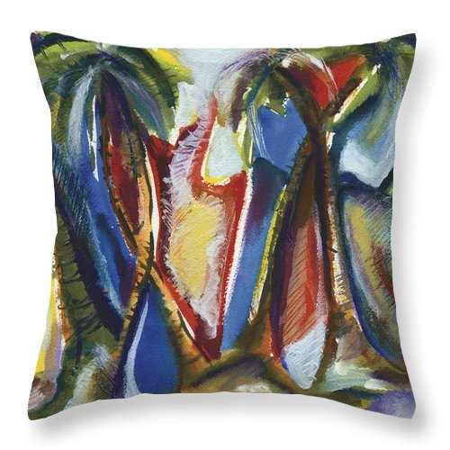 Abstract Throw Pillow featuring the painting Tropical Palm Rhumba by Kerryn Madsen Pietsch