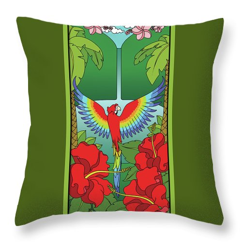 Tropical Throw Pillow featuring the digital art Tropical Paradise by Eleanor Hofer