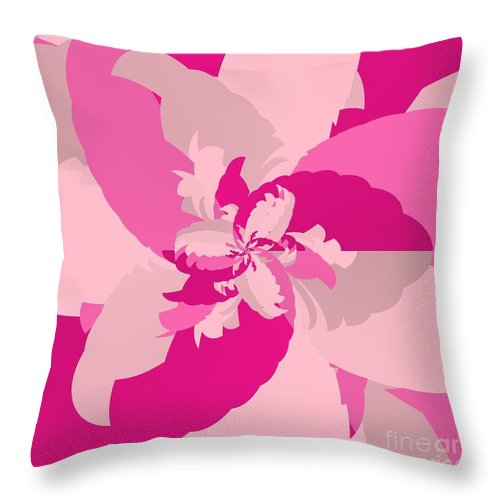 Tropical Pink Throw Pillow featuring the digital art Tropical Pink by Michael Skinner