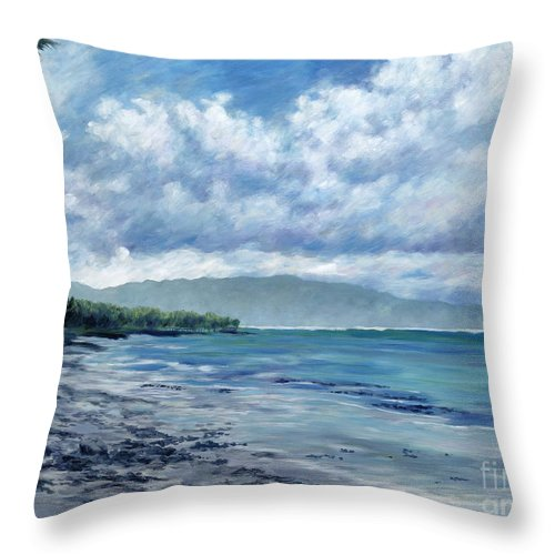 Seascape Throw Pillow featuring the painting Tropical Rain by Danielle Perry